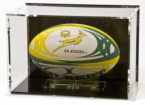 Rugby Ball Display Case for Size 3 with Black Back-Panel