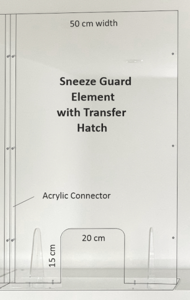 Modular Sneeze Guard 50 x 75cm (One Element)