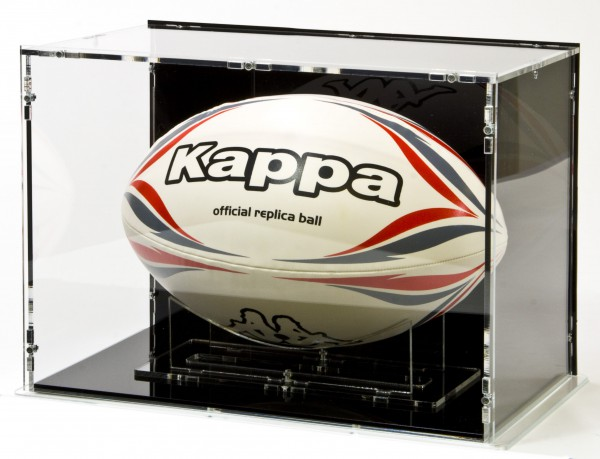 Rugby Ball Display Case for Size 5 with Black Back-Panel