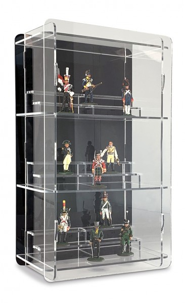 One Column Tin Figure Display Cabinet black